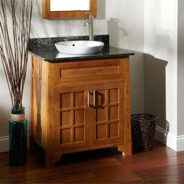 30 bangkok bamboo vanity for semi recessed sink modern for Modern bamboo bathroom vanity