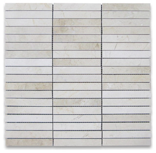 Crema marfil marble rectangular stack mosaic tile 5 8x4 for 8x4 bathroom designs