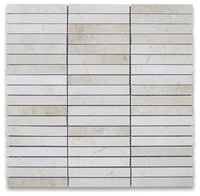 Crema marfil marble rectangular stack mosaic tile 5 8x4 for 8x4 bathroom ideas