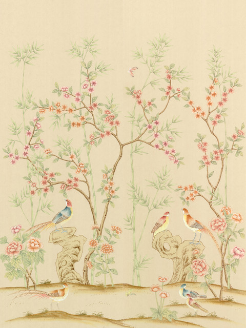 Chinoiserie wall mural rafah fresco small asian for Asian wallpaper mural