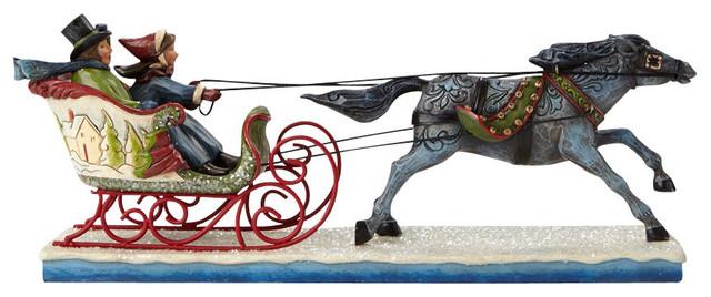 Enesco Jim Shore Victorian Couple In Sleigh Figurine