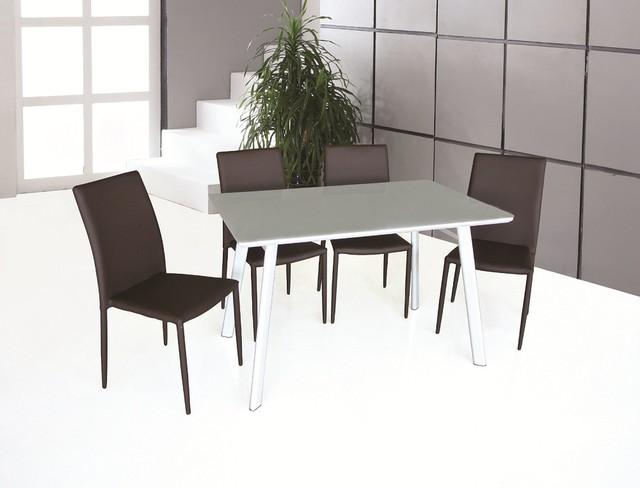 Contemporary Rectangular Glass Top Leather 5 Pc Dinner Set Contemporary D