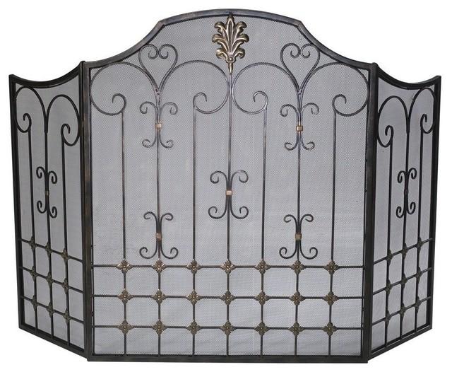 Cyan design bronze fire screen in bronze traditional fireplace screens by efurniture mart - Houzz fireplace screens ...