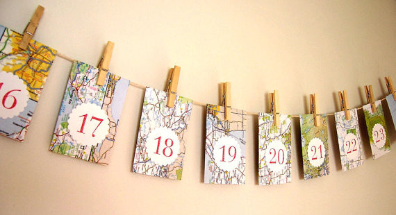 Advent Calendar Envelopes Ideas : Christmas advent calendar upcycled map envelopes by