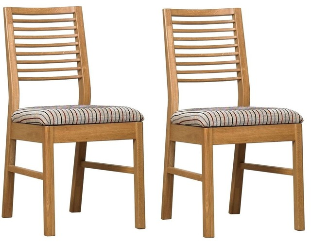 Mark webster telica oak geo dining chair with fabric seat