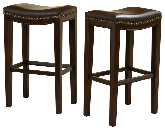 Jaeden Backless Stools Set Of 2 Brown Leather Bar