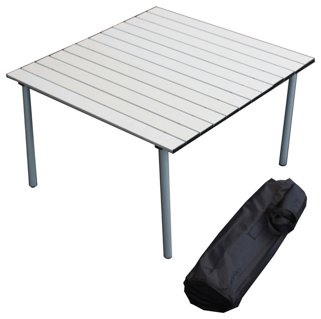 low aluminum portable table in a bag silver