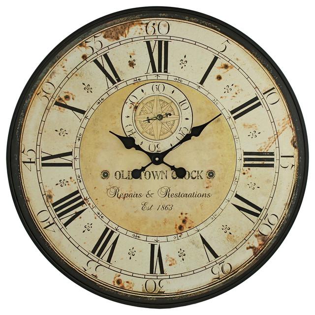 Simona Round Wall Clock Farmhouse Wall Clocks by Aspire Home Accents Inc