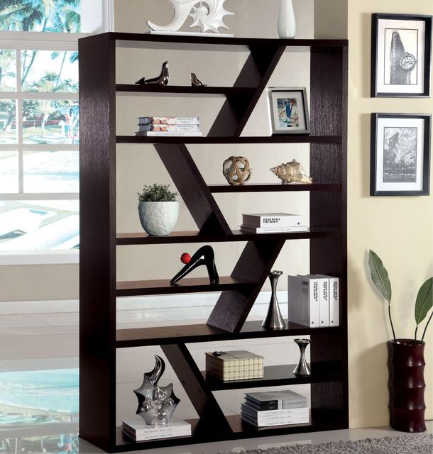 furniture of america emize espresso open display shelf