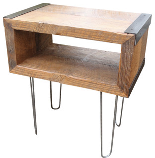 salvaged barn wood side table with hairpin legs. Black Bedroom Furniture Sets. Home Design Ideas