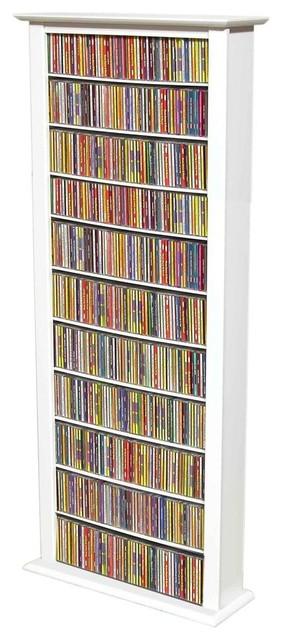 Extra Tall 12-Shelf Single Media Storage Towe - Contemporary - Media Racks And Towers