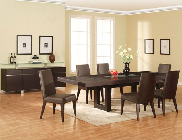Extendable Rectangular Wooden And Glass Top Leather 5 Pc