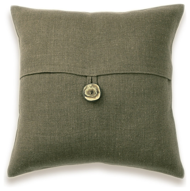 Decorative Lumbar Pillows Green : Dark Olive Green Linen Lumbar Pillow Cover 16 inch Faux Horn Button DREA DESIGN