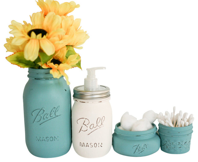 Painted mason jars 4 piece bathroom set teal blue and for Teal bath sets