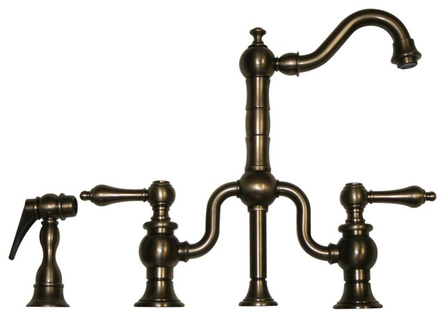 Bridge Faucet Short Traditional Swivel Spout Brass Side Spray Farmhouse