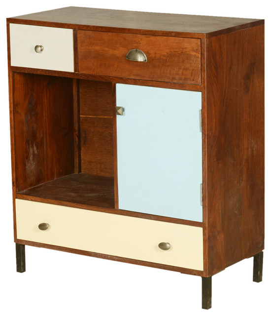 60's Retro Mango Wood Open Display Cabinet Mini Cabinet - Rustic - Accent Chests And Cabinets ...