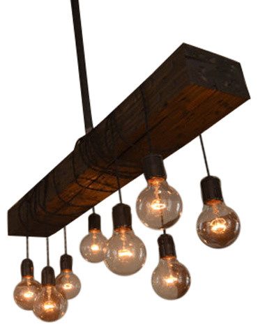 Neylon Wood Beam Chandelier - Industrial - Chandeliers ...