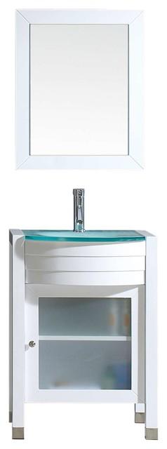 Ava 24quot single bathroom vanity cabinet set white modern for Ava bathroom furniture