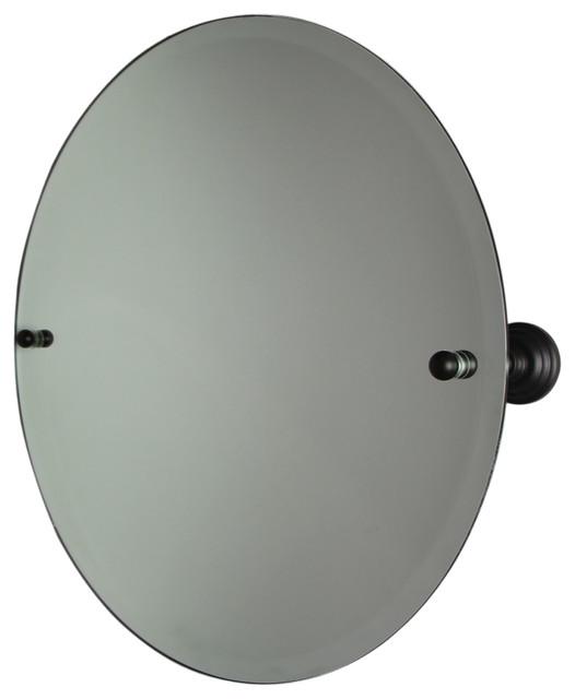 Frameless Round Tilt Mirror Beveled Edge Oil Rubbed Bronze 22 Transitional