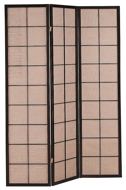 3 Panel Folding Screen With Fabric Inlay Contemporary Screens And Room Di