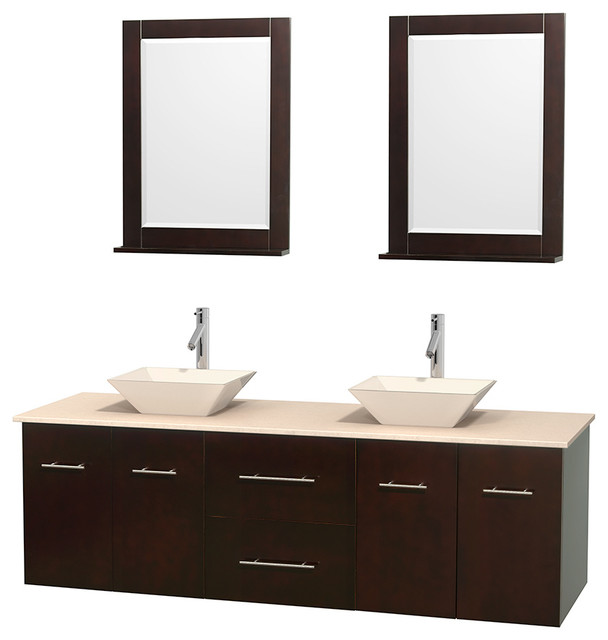 Centra 72 espresso double bathroom vanity ivory marble for Marble top console sink