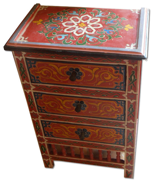 Moroccan Hand Painting Wooden Chest Of Drawers