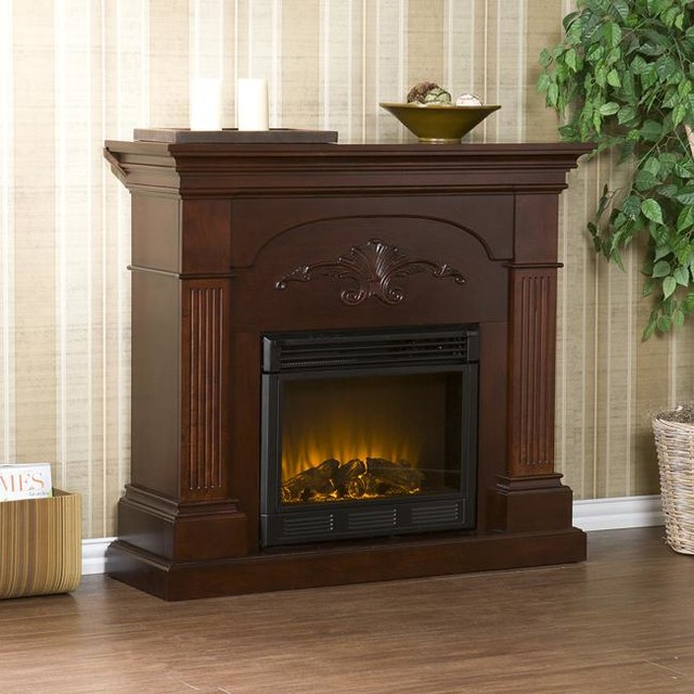 Upton Home Gilbert Mahogany Electric Fireplace Contemporary Indoor Fireplaces By