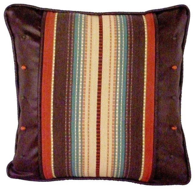 Southwestern Pillows And Throws : Santa Fe Stripe and Safari Chocolate Decorative Pillow - Southwestern - Decorative Pillows - by ...