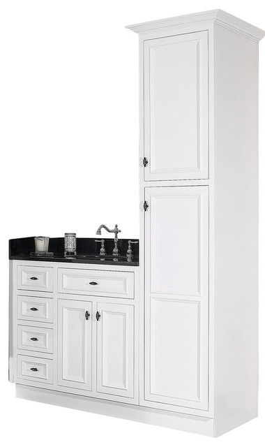 JSI Danbury White Bathroom Vanity Base and Linen Closet - Traditional - Bathroom Vanities And ...