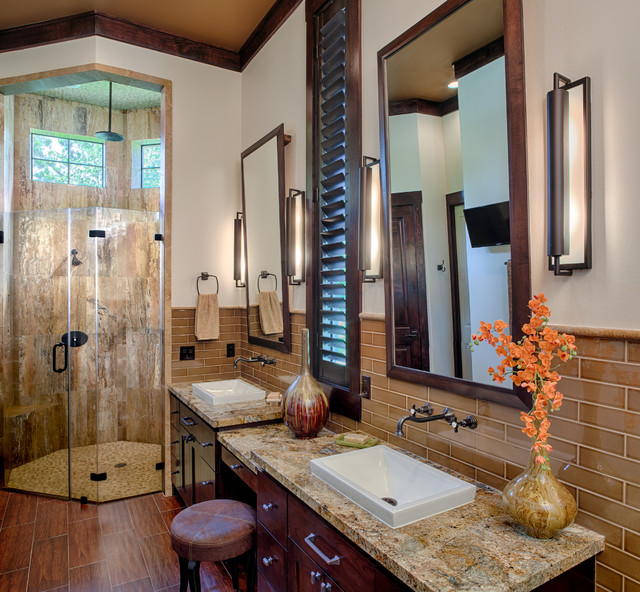 Modern mountain lodge contemporary bathroom houston for Designing interiors inc