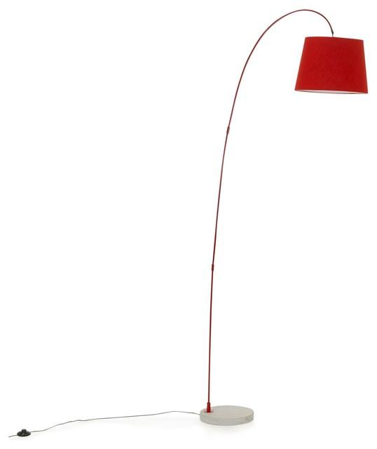 fisher lampadaire acier rouge beton h200cm contemporain. Black Bedroom Furniture Sets. Home Design Ideas