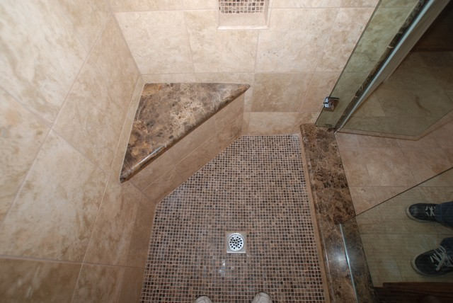 Marble And Travertine With Kohler Fixtures And Round