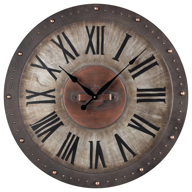 bronze metal roman numeral outdoor wall clock - traditional - wall clocks
