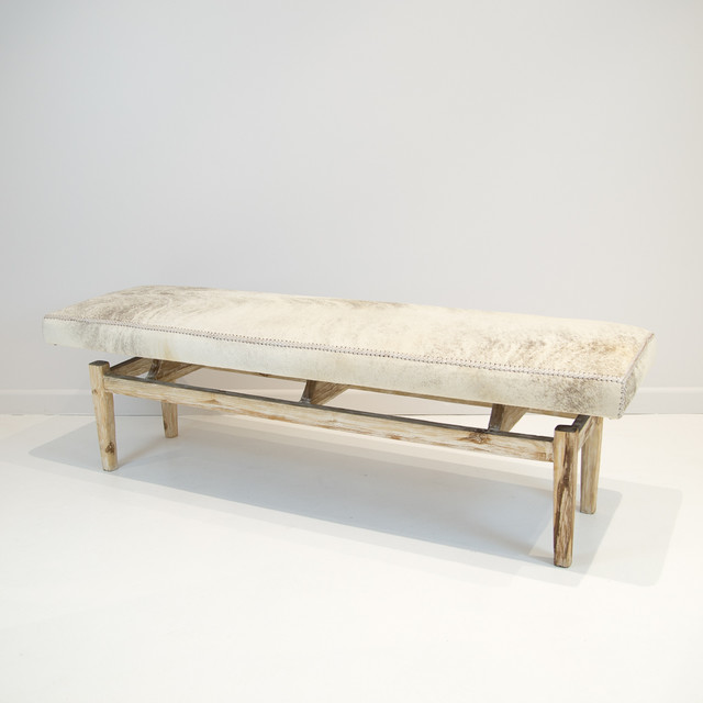 Cowhide bench 120cm long Long upholstered bench