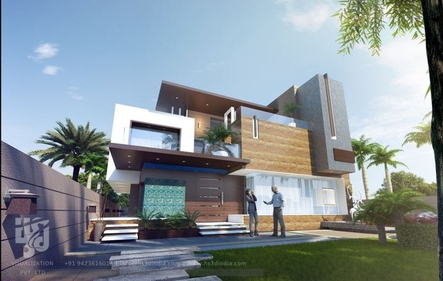 3d modern bungalow elevation elevation day rendering by hs for Latest elevation of modern bungalows