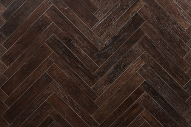AnTeak Small Herringbone In Coffee Asian Wall And