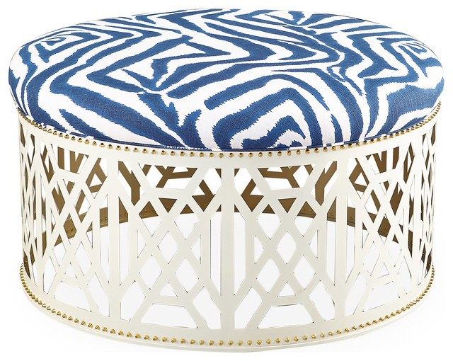 Dont Fret Coffee Table White Navy Zebra Contemporary Footstools Ottomans