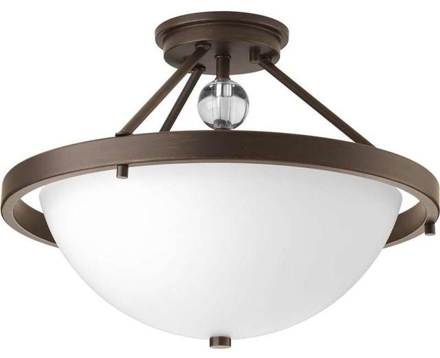 Progress Lighting P3614 20 Compass 2 Light Semi Flush Mount Ceiling Light C