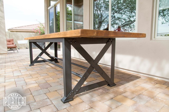 Captivating Patio Table Reclaimed Oak X Base Table Industrial Outdoor