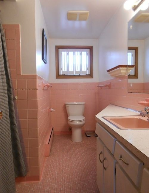 Keeping But Updating The Pink Bathroom In Our New Home