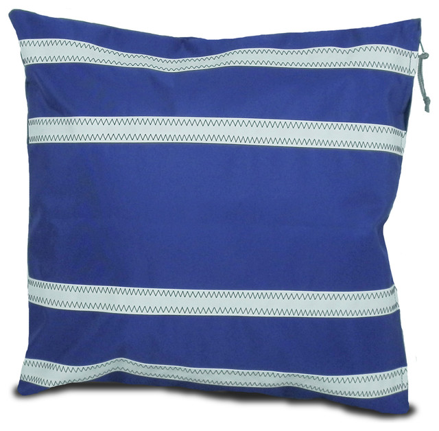 Oversized White Decorative Pillows : Nautical Stripes Casual Pillow Cover, Blue and White, Large - Beach Style - Decorative Pillows