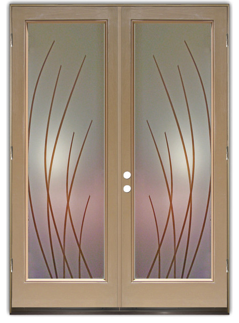 Glass Doors - Frosted Glass Front Entry Doors - SLEEK BANDS W/ COLOR ...
