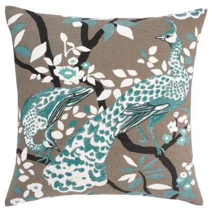 Peacock azure pillow modern dekokissen von dwellstudio for Wohndeko modern