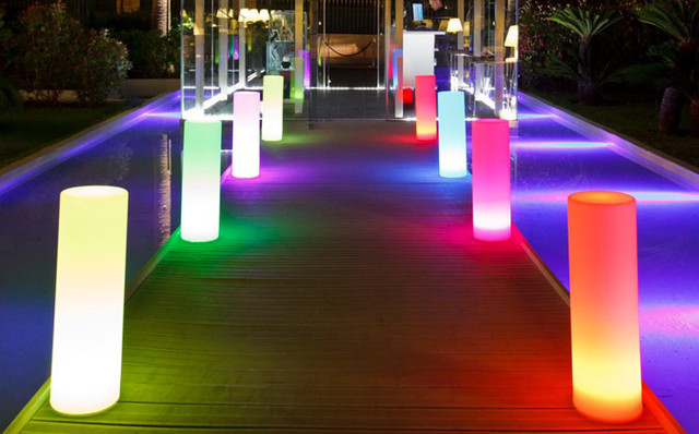 Exterior led lighting home decor laux indoor outdoor lighting 160 000 colour cylinder floor led garden lamp aloadofball