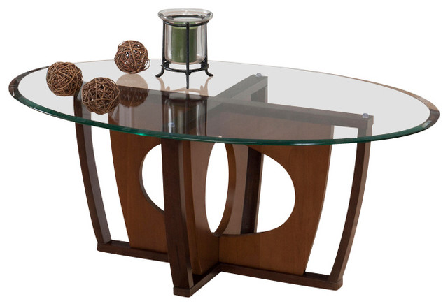 jofran ellipse 3 piece beveled glass coffee table set in cherry traditional coffee table. Black Bedroom Furniture Sets. Home Design Ideas