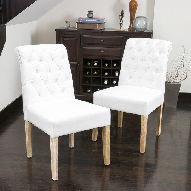 Christopher knight home dinah tufted white fabric dining for Contemporary fabric dining chairs