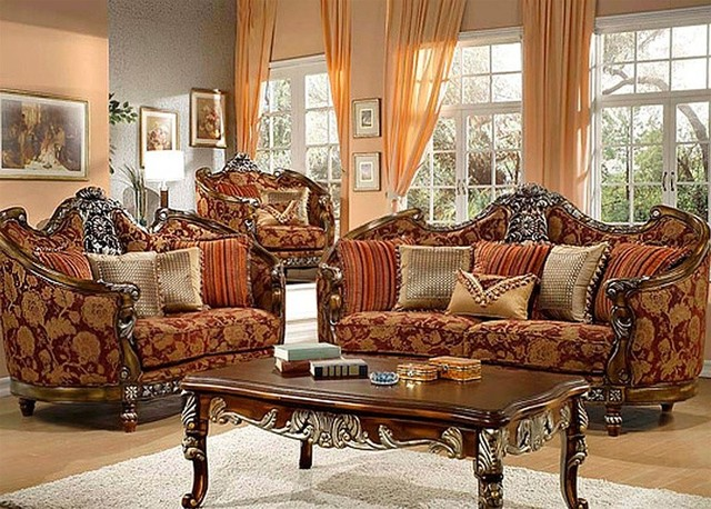 Homey Design Florence Red And Gold Chenille 3 Piece Living Room Set 270set Traditional