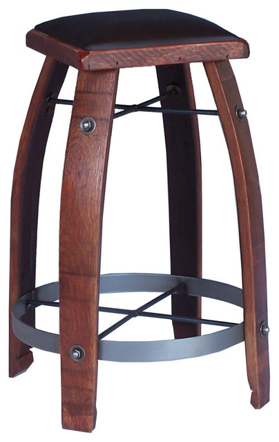 24 Quot Stave Stool With Chocolate Leather Top Craftsman