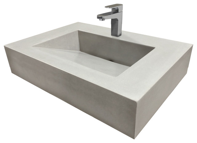 30 Vallum Concrete Sink White Linen No Hole Modern