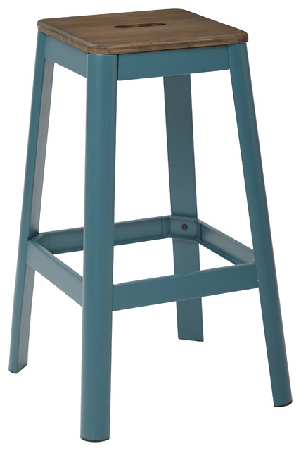 Hammond metal barstool with darkwood seat transitional bar stools and counter stools by - Teal blue bar stools ...